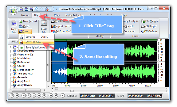 Save Edited Audio File